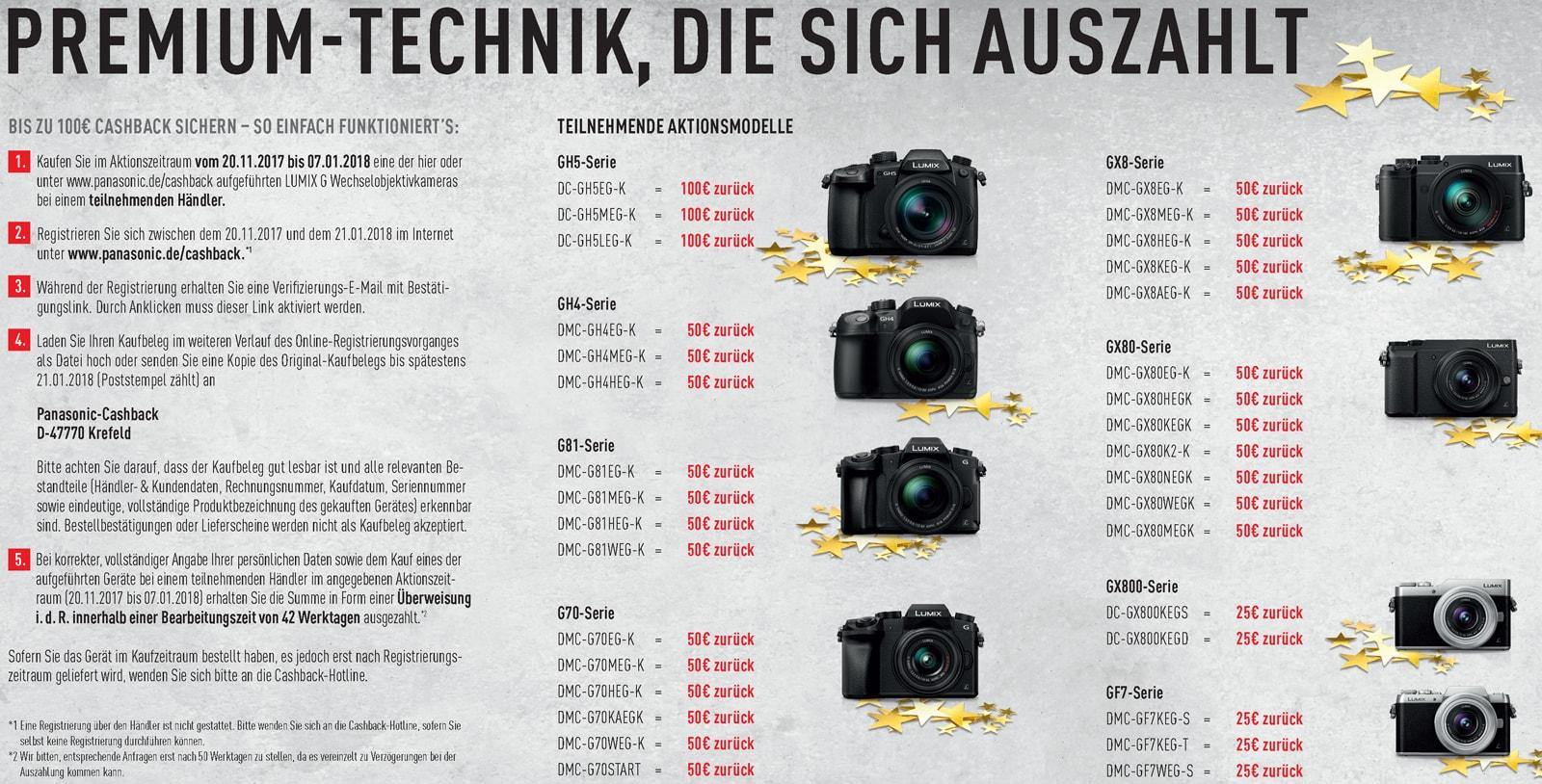 Panasonic Cashback Aktion 2017 bei Foto Seitz